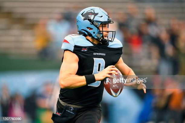 Philip Nelson of the Dallas Renegades drops back to pass during the XFL game against the St. Louis BattleHawks at Globe Life Park on February 9, 2020...