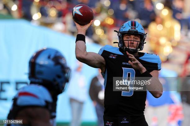 Philip Nelson of the Dallas Renegades passes the ball against the New York Guardians at an XFL football game on March 07, 2020 in Arlington, Texas.