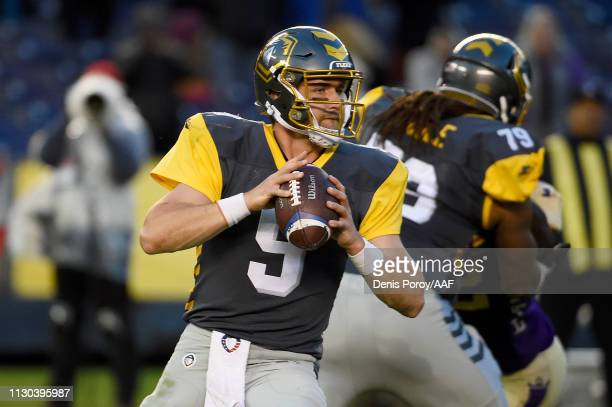 Philip Nelson of the San Diego Fleet drops back to pass in the first quarter against the Atlanta Legends during the Alliance of American Football...