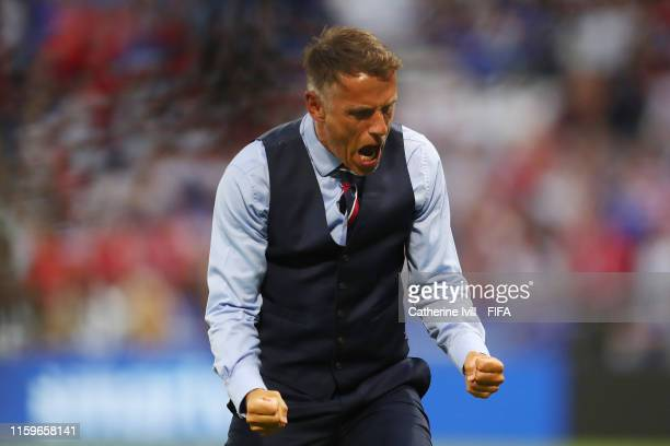 Philip Neville, Head Coach of England celebrates after his team's first goal during the 2019 FIFA Women's World Cup France Semi Final match between...