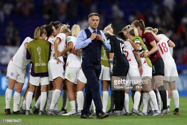Philip Neville, Head Coach of England looks on following the 2019 FIFA Women's World Cup France Semi Final match between England and USA at Stade de...