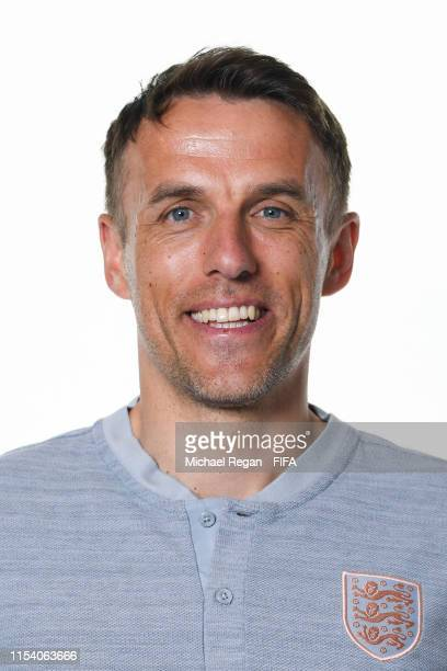 Philip Neville Head Coach of England poses for a portrait during the official FIFA Women's World Cup 2019 portrait session at Radisson Blu Hotel Nice...