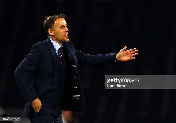 Philip Neville of England Women gives his team instruction during the International Friendly match between England Women and Australia at Craven...
