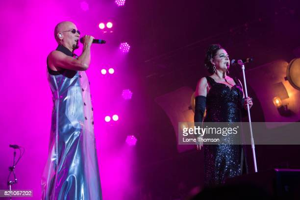 Philip Oakey and Joanne Catherall of The Human League perform on Day 2 of Rewind Festival at Scone Palace on July 22 2017 in Perth Scotland