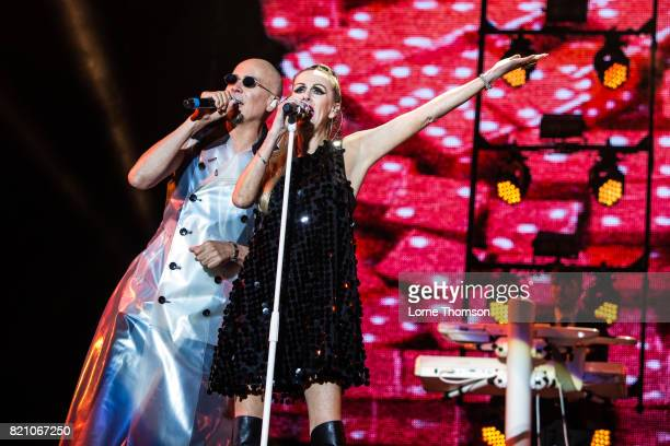 Philip Oakey and Susan Ann Sulley of The Human League perform on Day 2 of Rewind Festival at Scone Palace on July 22 2017 in Perth Scotland