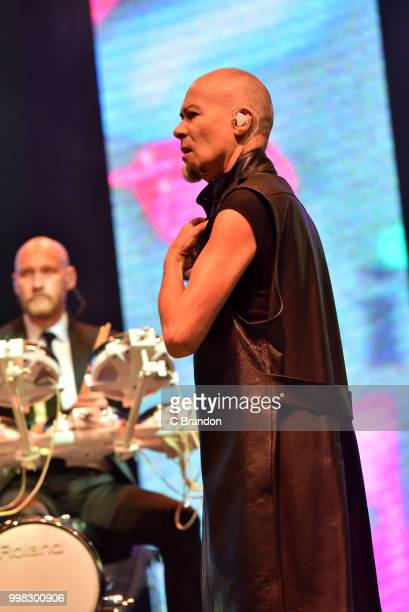 Philip Oakey of The Human League performs on stage during Day 4 of Kew The Music at Kew Gardens on July 13 2018 in London England