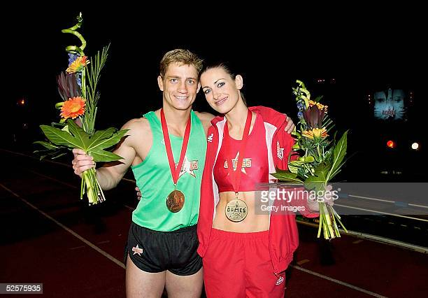 Philip Olivier and Kirsty Gallacher celebrate winning on day eight the grand finale of the new series of the reality TV show The Games at the Don...
