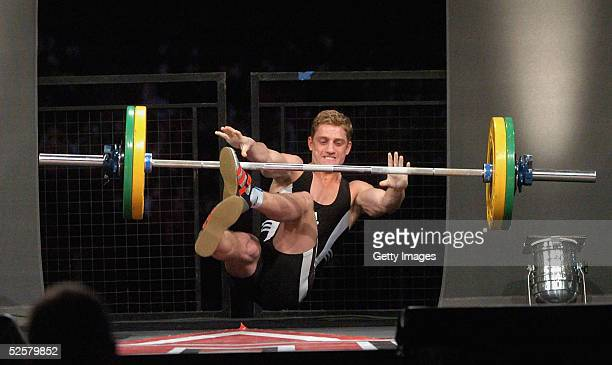 Philip Olivier competes in the weightlifting event at The Games Champion of Champions final contest at the Don Valley Stadium on April 2 2005 in...