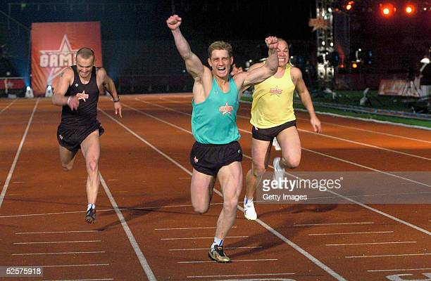 Philip Olivier of the boys participates in the 100m sprint event on day eight the grand finale of the new series of the reality TV show The Games at...