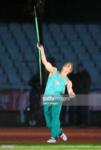 Philip Olivier of the boys participates in the javelin event on day eight of the new series of the reality TV show The Games at the Don Valley...