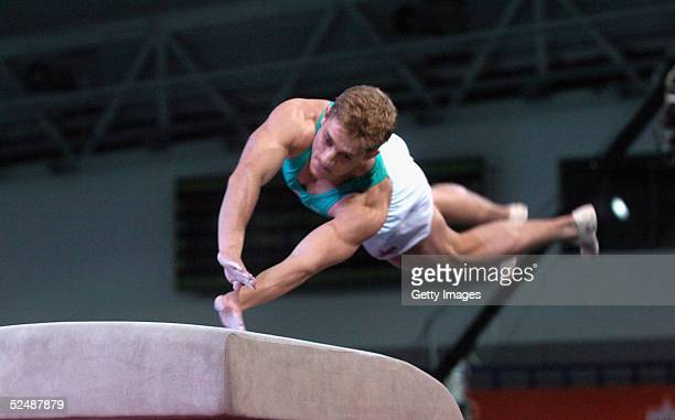 Philip Olivier of the boys participates in the vault event on day four of the new series of the reality TV show The Games at the English Institute of...