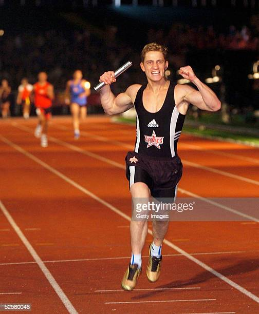 Philip Olivier wins the relay during The Games Champion of Champions final contest at the Don Valley Stadium on April 2 2005 in Sheffield England The...