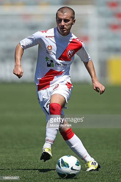 Philip Petreski of Melbourne passes the ball during the round five Youth League match between Adelaide United and Melbourne Heart at Hindmarsh...