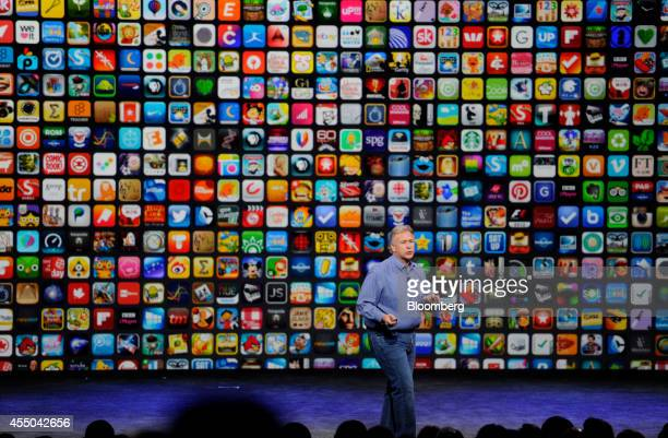 Philip 'Phil' Schiller senior vice president of worldwide marketing at Apple Inc speaks about the iPhone 6 and iPhone 6 Plus during a product...