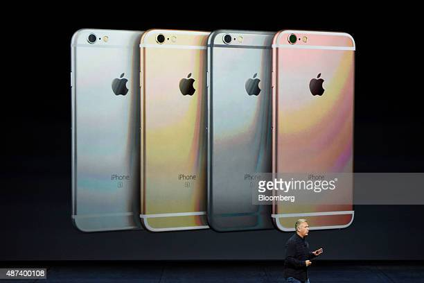 Philip Phil Schiller senior vice president of worldwide marketing at Apple Inc speaks about the Apple Inc iPhone 6s and 6s Plus smartphones during an...