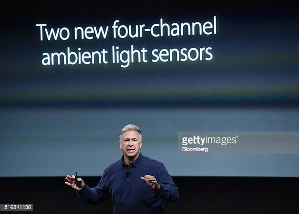 Philip Phil Schiller senior vice president of worldwide marketing at Apple Inc announces the iPad Pro tablet computer during an Apple event in...