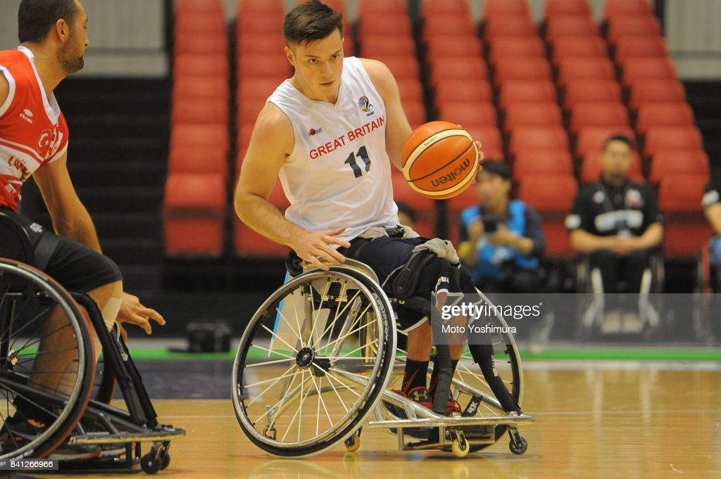 Philip Pratt of Great Britain in action during the Wheelchair Basketball World Challenge Cup match between Great Britain and Turkey at the Tokyo Metropolitan Gymnasium on August 31, 2017 in Tokyo, Japan.