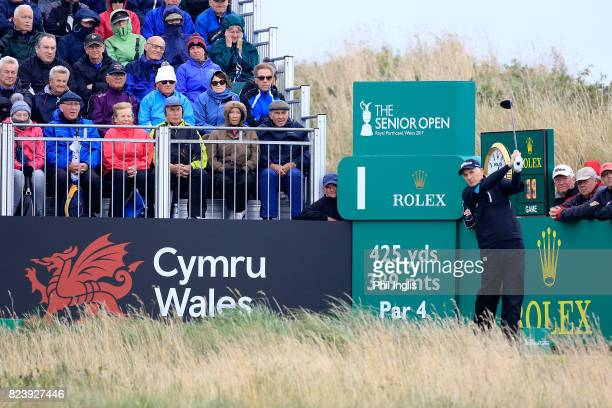 Philip Price of Wales in action during the second round of the Senior Open Championship presented by Rolex at Royal Porthcawl Golf Club on July 28,...