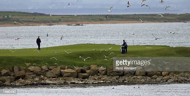 Philip Price of Wales on the par three 15th hole during the third day of the Dunhill Links Championships being played at the Kingsbarns Golf Club,...