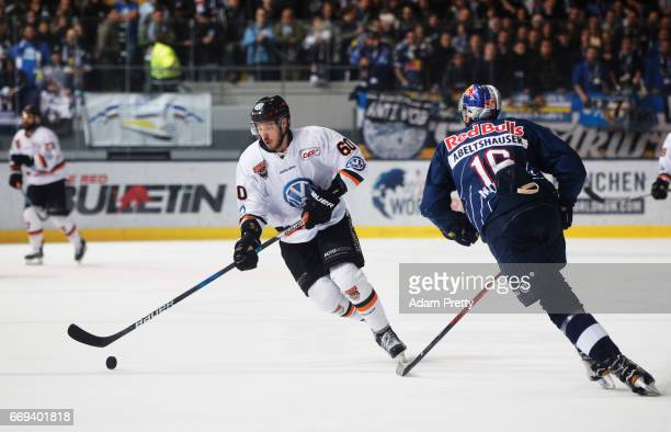 Philip Riefen of Wolfsburg in action during the DEL PlayOffs Final Match 5 between EHC Muenchen and the Grizzlys Wolfsburg at Olympia Eisstadion...