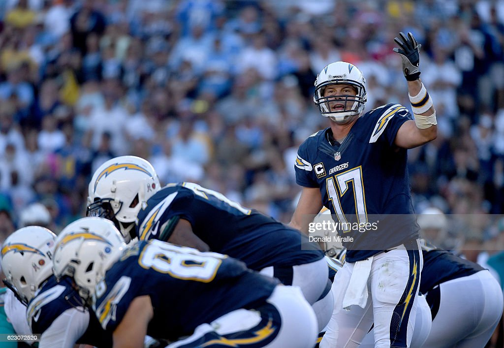 Philip Rivers #17 Game at Qualcomm Stadium on November 13, 2016 in San Diego, California. He had 4 interceptions on the day during their 31-24 loss.