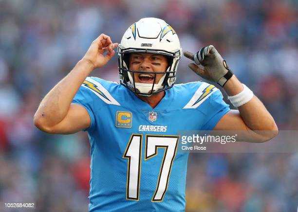 Philip Rivers of Los Angeles Chargers reacts during the NFL International Series match between Tennessee Titans and Los Angeles Chargers at Wembley...