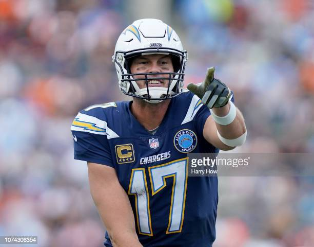 Philip Rivers of the Los Angeles Chargers calls a play during the game against the Cincinnati Bengals at StubHub Center on December 9 2018 in Carson...