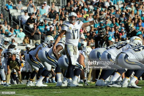 Philip Rivers of the Los Angeles Chargers calls a play in the second half of their game against the Jacksonville Jaguars at EverBank Field on...