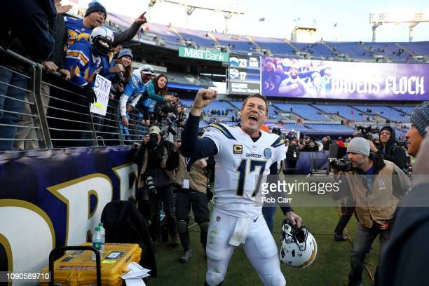 Philip Rivers of the Los Angeles Chargers celebrates after defeating the Baltimore Ravens after the AFC Wild Card Playoff game at M&T Bank Stadium on...