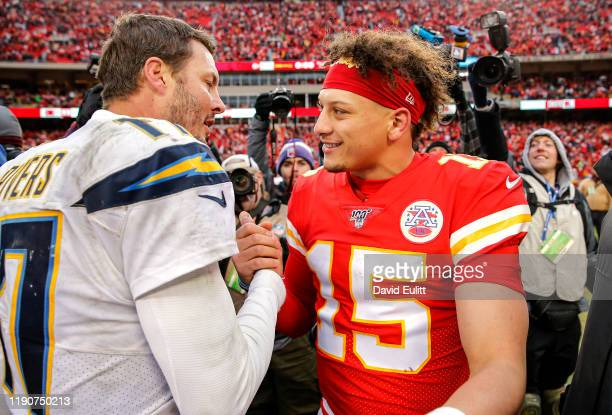 Philip Rivers of the Los Angeles Chargers congratulates Patrick Mahomes of the Kansas City Chiefs following the Chiefs 3121 win at Arrowhead Stadium...