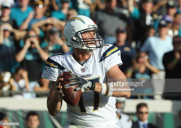 Philip Rivers of the Los Angeles Chargers looks to throw a pass in the second half of their game against the Jacksonville Jaguars at EverBank Field...