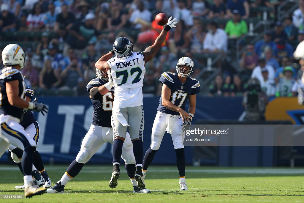 Philip Rivers #17 of the Los Angeles Chargers makes a pass in the first quarter against the Seattle Seahawks at StubHub Center on August 13, 2017 in Carson, California.