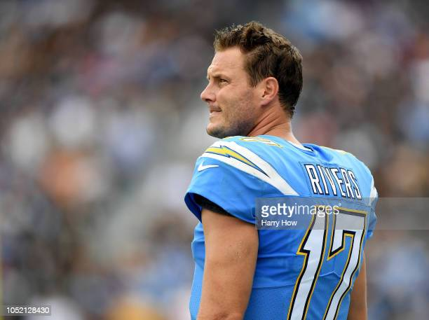 Philip Rivers of the Los Angeles Chargers on the sidelines during the game against the Oakland Raiders at StubHub Center on October 7 2018 in Carson...