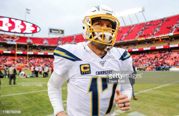 Philip Rivers of the Los Angeles Chargers ran off the field following the 31-21 loss to the Kansas City Chiefs at Arrowhead Stadium on December 29,...