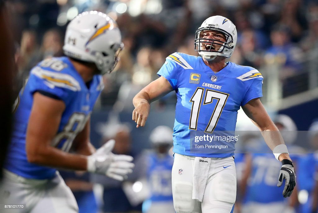 Philip Rivers #17 of the Los Angeles Chargers reacts against the Dallas Cowboys at AT&T Stadium on November 23, 2017 in Arlington, Texas.