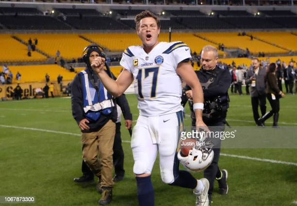 Philip Rivers of the Los Angeles Chargers reacts as he runs off the field following a 3330 win over the Pittsburgh Steelers at Heinz Field on...