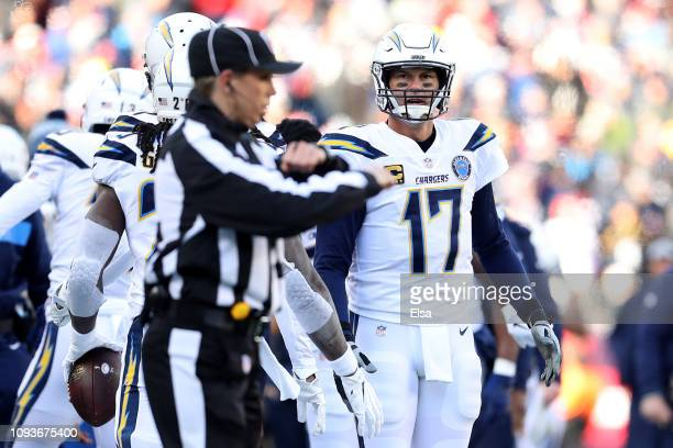 Philip Rivers of the Los Angeles Chargers reacts as NFL Down Judge Sarah Thomas makes a call during the AFC Divisional Playoff Game against the New...