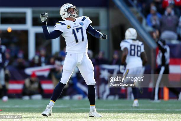 Philip Rivers of the Los Angeles Chargers reacts during the AFC Divisional Playoff Game against the New England Patriots at Gillette Stadium on...