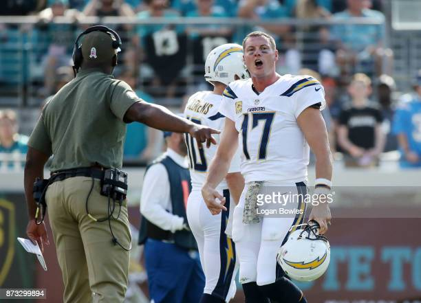 Philip Rivers of the Los Angeles Chargers reacts to a play in the first half of their game against the Jacksonville Jaguars at EverBank Field on...