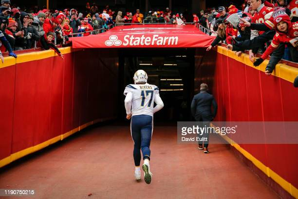Philip Rivers of the Los Angeles Chargers runs into the tunnel following the Chargers 3121 loss to the Kansas City Chiefs at Arrowhead Stadium on...