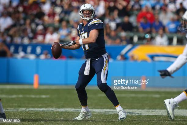Philip Rivers of the Los Angeles Chargers throws the ball during a NFL game between the Washington Redskins and the Los Angeles Chargers on December...