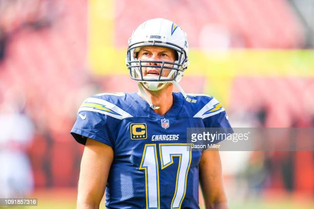 Philip Rivers of the Los Angeles Chargers warms up before the game against the Cleveland Browns at FirstEnergy Stadium on October 14 2018 in...