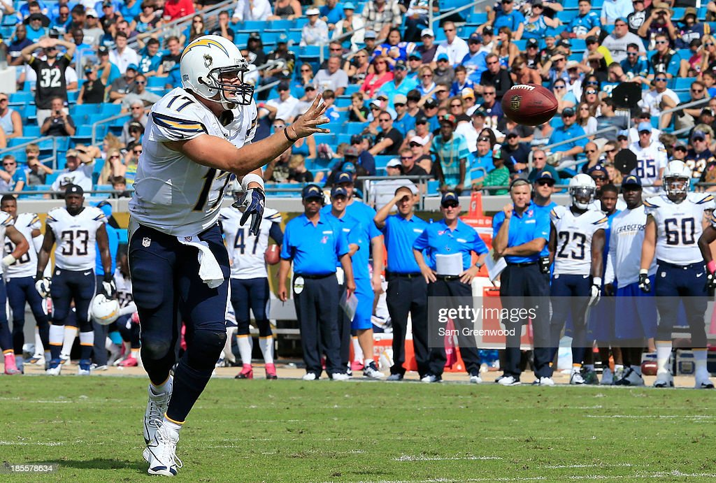 Philip Rivers #17 of the San Diego Chargers attempts a pass during the game against the Jacksonville Jaguars at EverBank Field on October 20, 2013 in Jacksonville, Florida.