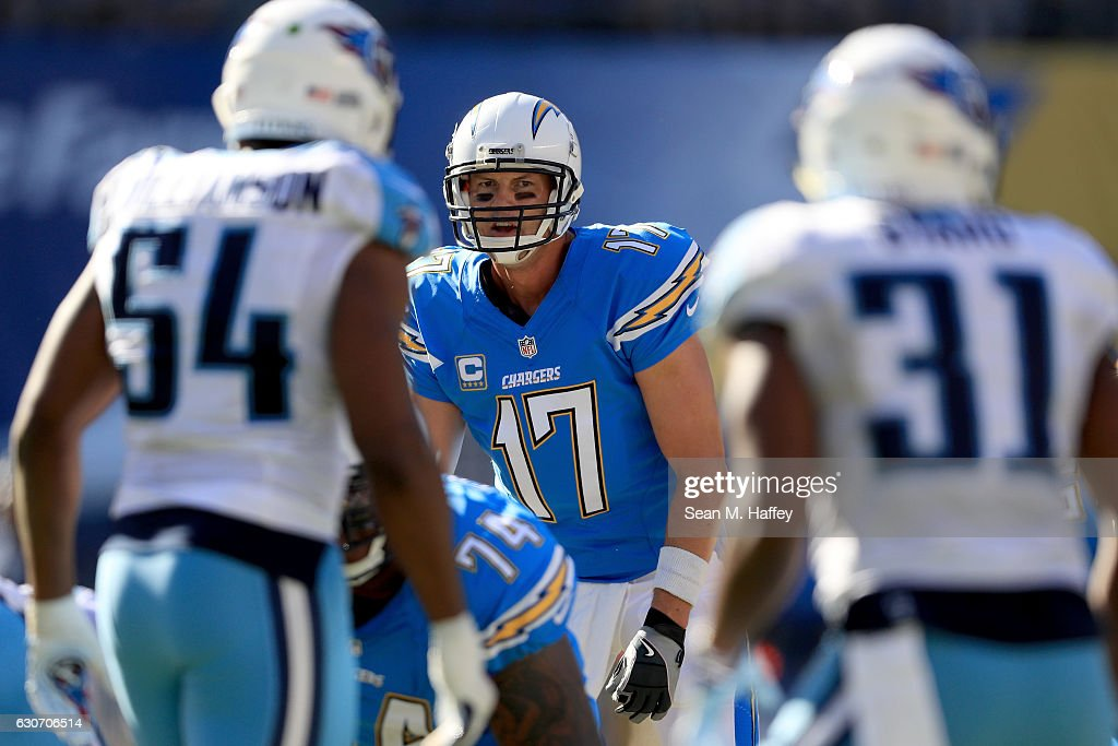 Philip Rivers #17 of the San Diego Chargers calls a play at the line of scrimmage during the second half of a game against the Tennessee Titans at Qualcomm Stadium on November 6, 2016 in San Diego, California.