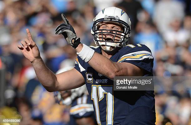Philip Rivers of the San Diego Chargers calls the play at the line of scrimmage against the St Louis Rams during their NFL Game on November 23 2014...