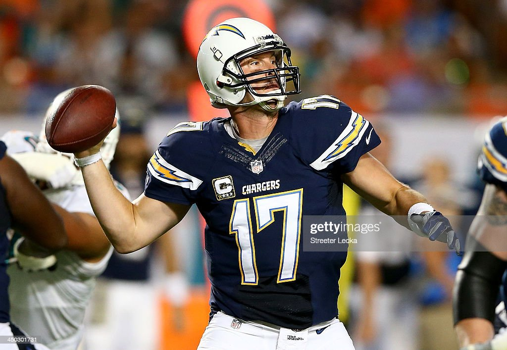 Philip Rivers #17 of the San Diego Chargers drops back to pass uring their game against the Miami Dolphins at Sun Life Stadium on November 17, 2013 in Miami Gardens, Florida.