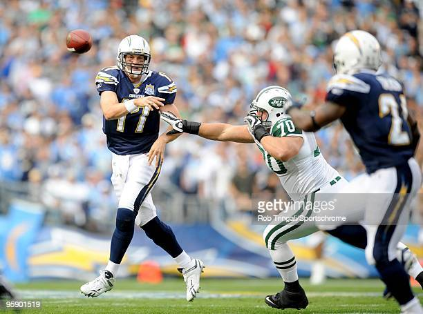 Philip Rivers of the San Diego Chargers passes against the New York Jets during AFC Divisional Playoff Game at Qualcomm Stadium on January 17 2010 in...