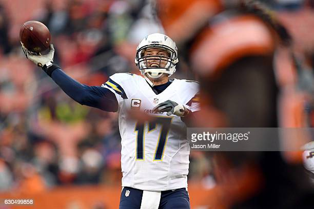 Philip Rivers of the San Diego Chargers passes in the second half against the Cleveland Browns at FirstEnergy Stadium on December 24 2016 in...