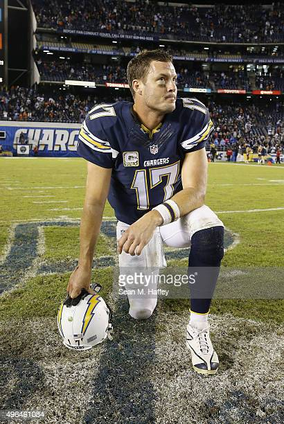 Philip Rivers of the San Diego Chargers reacts after the Chicago Bears defeated the Chargers 2219 at Qualcomm Stadium on November 9 2015 in San Diego...