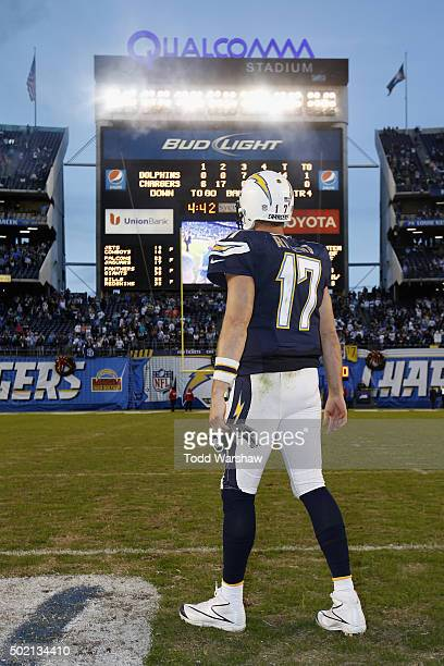 Philip Rivers of the San Diego Chargers stands at midfield after defeating the Miami Dolphins 3014 at Qualcomm Stadium on December 20 2015 in San...
